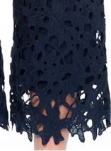 Crochet Lace Pull On Wide Leg Cropped Trousers Blue - Gallery Image 4