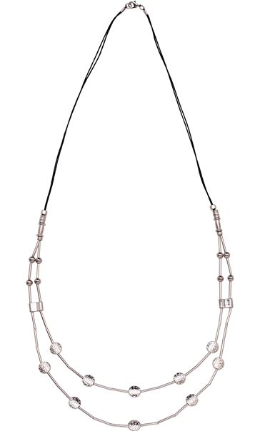 Double Layered Bead Necklace Silver/Black