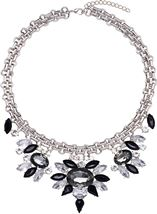 Floral Sparkle Statement Necklace Silver/Black - Gallery Image 1