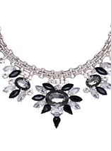 Floral Sparkle Statement Necklace Silver/Black - Gallery Image 2