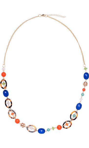 Beaded Longline Necklace Gold Multi