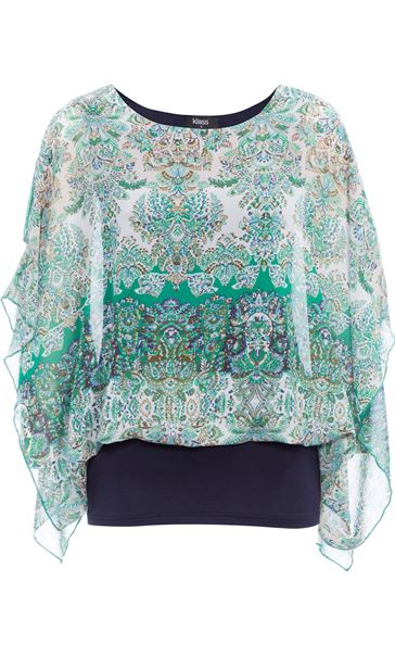 Layered Printed Kimono Top Green/Blue - Gallery Image 1
