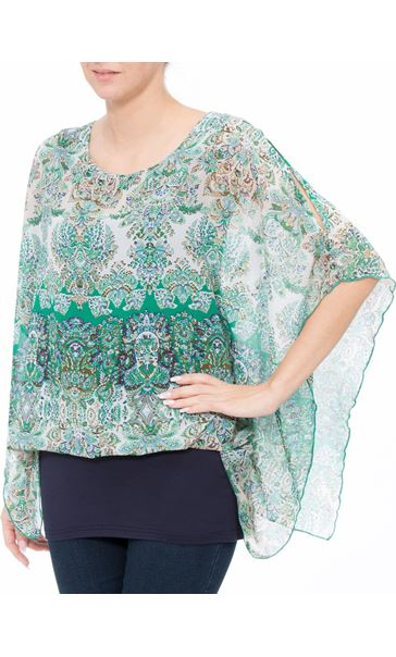 Layered Printed Kimono Top Green/Blue - Gallery Image 2