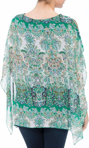Layered Printed Kimono Top Green/Blue - Gallery Image 3