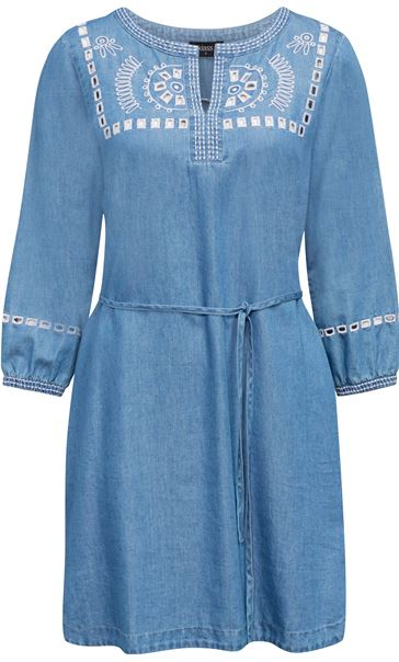 Embroidered Self Tie Tunic Mid Denim