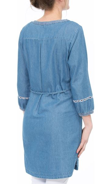 Embroidered Self Tie Tunic Mid Denim - Gallery Image 3