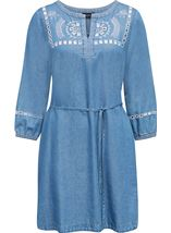 Embroidered Self Tie Tunic Mid Denim - Gallery Image 1