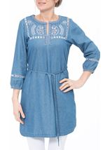 Embroidered Self Tie Tunic Mid Denim - Gallery Image 2