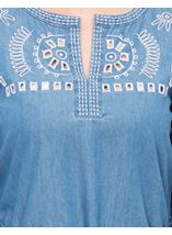 Embroidered Self Tie Tunic Mid Denim - Gallery Image 4