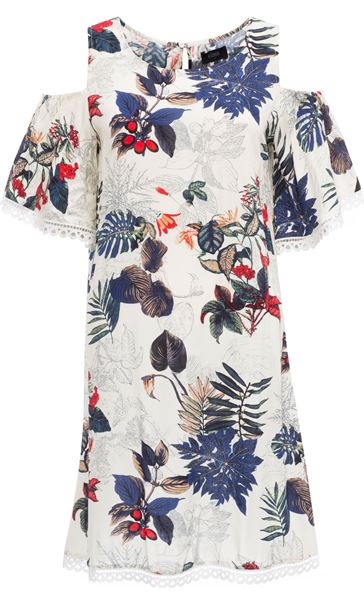 Cold Shoulder Floral Print Tunic White/Red