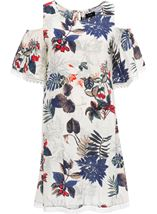 Cold Shoulder Floral Print Tunic White/Red - Gallery Image 1
