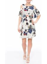 Cold Shoulder Floral Print Tunic White/Red - Gallery Image 2