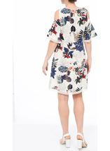 Cold Shoulder Floral Print Tunic White/Red - Gallery Image 3