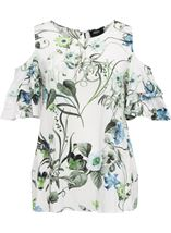 Cold Shoulder Floral Print Top White/Green - Gallery Image 1