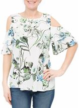 Cold Shoulder Floral Print Top White/Green - Gallery Image 2