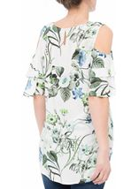 Cold Shoulder Floral Print Top White/Green - Gallery Image 3