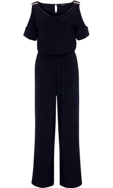 Cold Shoulder Cowl Neck Jumpsuit Midnight