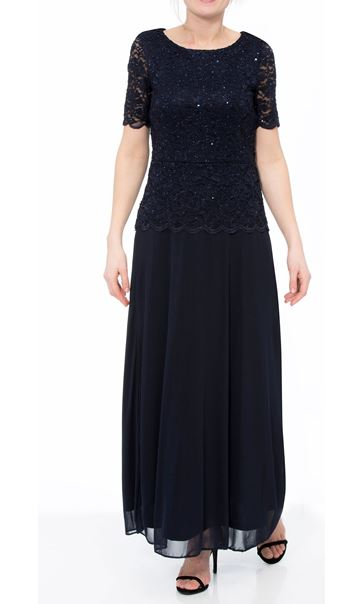 Short Sleeve Lace And Mesh Maxi Dress Blue