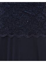 Short Sleeve Lace And Mesh Maxi Dress Blue - Gallery Image 4