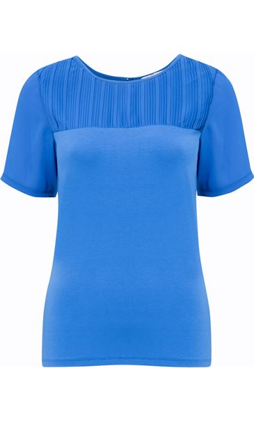 Anna Rose Pleated Chiffon And Jersey Short Sleeve Top Blue