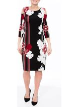 Textured Cold Shoulder Midi Dress Red Multi - Gallery Image 2