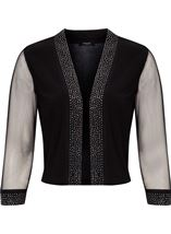 Embellished Mesh Sleeve Open Cover Up Black - Gallery Image 1