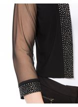 Embellished Mesh Sleeve Open Cover Up Black - Gallery Image 4