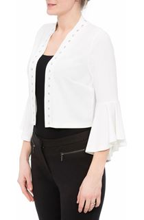 Flared Sleeve Studded Open Cover Up - Ivory