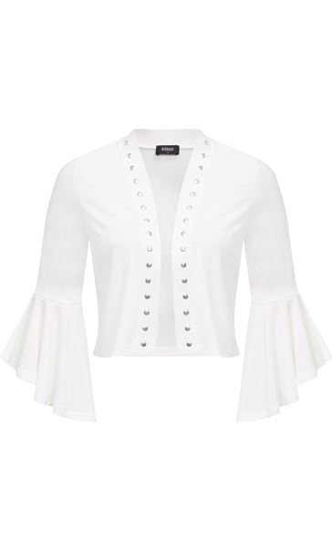 Flared Sleeve Studded Open Cover Up Ivory