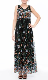 Border Garden Embroidered Mesh Maxi Dress Black/Multi - Gallery Image 2