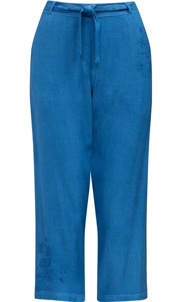 Anna Rose Embroidered Washed Cropped Trousers Cobalt