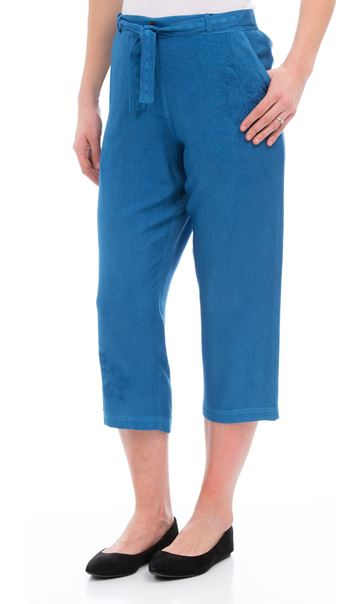 Anna Rose Embroidered Washed Cropped Trousers Cobalt - Gallery Image 2