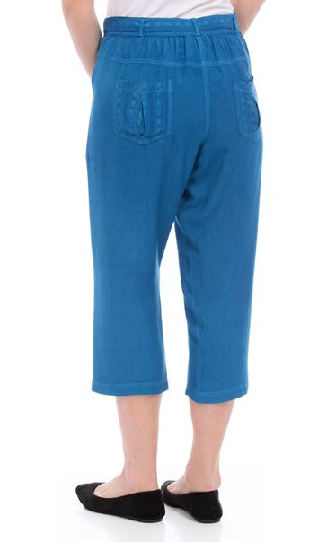 Anna Rose Embroidered Washed Cropped Trousers Cobalt - Gallery Image 3