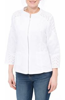 Broderie Anglaise Trim Linen Blend Zip Jacket