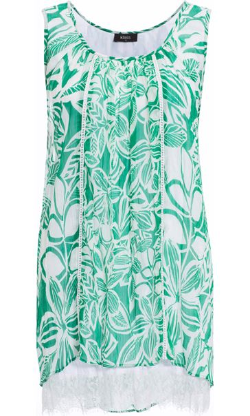 Printed Georgette Layered Sleeveless Top Emerald/White