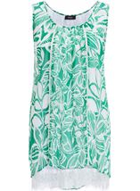 Printed Georgette Layered Sleeveless Top Emerald/White - Gallery Image 1