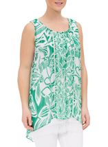 Printed Georgette Layered Sleeveless Top Emerald/White - Gallery Image 2