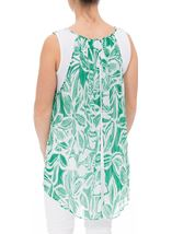 Printed Georgette Layered Sleeveless Top Emerald/White - Gallery Image 3