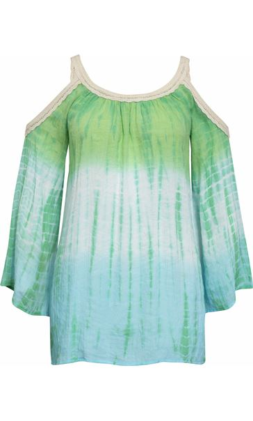 Boho Lace Trim Cold Shoulder Top Emerald/Lagoon
