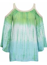 Boho Lace Trim Cold Shoulder Top Emerald/Lagoon - Gallery Image 1