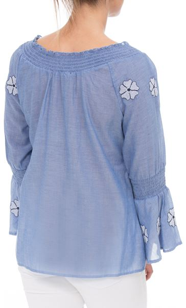 Embroidered Smocked Cotton Top Lt Chambray - Gallery Image 2