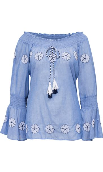 Embroidered Smocked Cotton Top Lt Chambray - Gallery Image 3