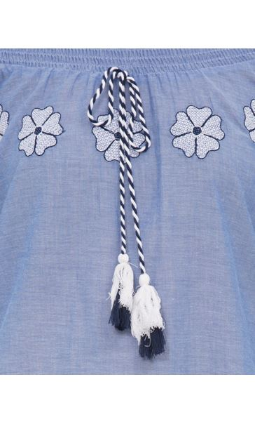 Embroidered Smocked Cotton Top Lt Chambray - Gallery Image 4