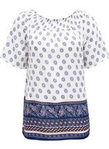 Border Printed Smocked Top White/Pink/Blue - Gallery Image 1