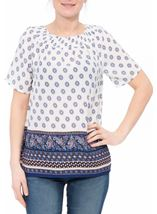 Border Printed Smocked Top White/Pink/Blue - Gallery Image 2