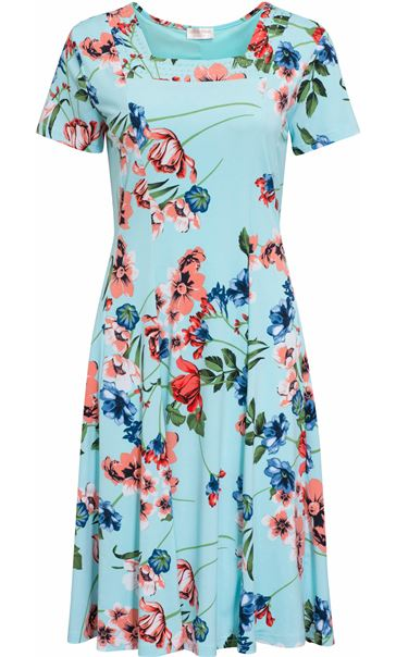Anna Rose Garden Print Short Sleeve Jersey Dress