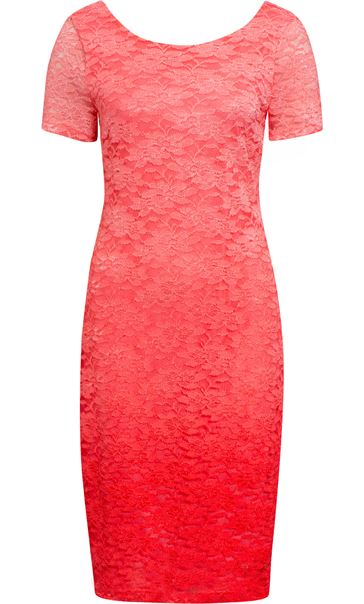 Anna Rose Ombre Short Sleeve Lace Midi Dress Deep Coral/Salmon