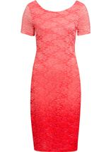 Anna Rose Ombre Short Sleeve Lace Midi Dress Deep Coral/Salmon - Gallery Image 1