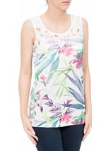 Crochet Trim Floral Print Sleeveless Top White Multi - Gallery Image 2