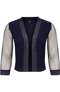Embellished Mesh Sleeve Open Cover Up - Midnight